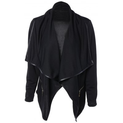 Asymmetric Design Draped Collar Leather Jacket