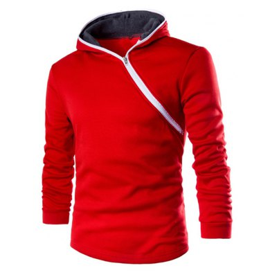 Casual Style Diagonal Zipper Design Long Sleeve Hoodie For Men