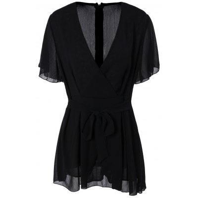 Pure Color Flare Sleeve Romper For Women