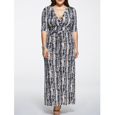 Plus Size Printed Maxi Dress with Sleeves
