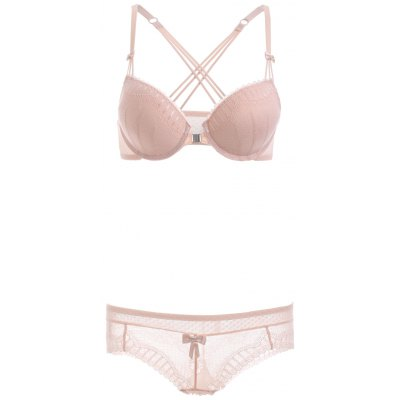 Front Closure Strappy Padded Lace Bra Set
