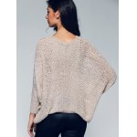 Asymmetric Batwing Sleeve Openwork Sweater for sale