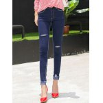 cheap Frayed Petite High Waisted Jeans
