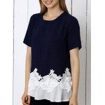 Sweet Floral Pattern Spliced Women's T-Shirt