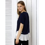 Floral Pattern Spliced Casual T-Shirt deal