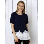 cheap Sweet Floral Pattern Spliced Women's T-Shirt