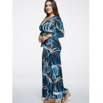 cheap Oversized Abstract Print Maxi Dress