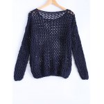 cheap Simple Women's Hollow Out Loose Knitted Top