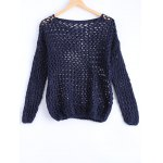 Simple Women's Hollow Out Loose Knitted Top