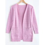 Simple Women's Front Pockets Pure Color Collarless Cardigan