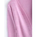 Simple Women's Front Pockets Pure Color Collarless Cardigan for sale