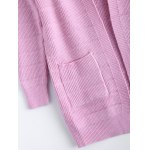 best Simple Women's Front Pockets Pure Color Collarless Cardigan