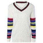 Trendy V-Neck Color Block Ribbed Women's Sweater photo
