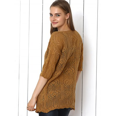 Crochet Candy Color Hollow Out Cardigan