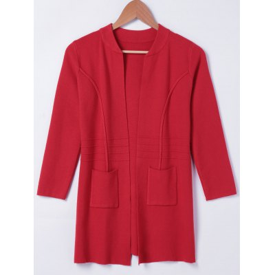 Stand Neck Pocket Long Sleeves Cardigan For Women