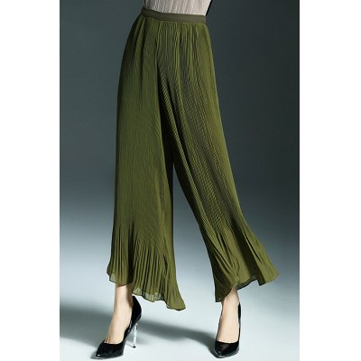 Solid Color Zippered Wide Leg Pants