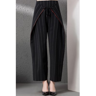 Tied Pinstriped Culotte Suede Pants
