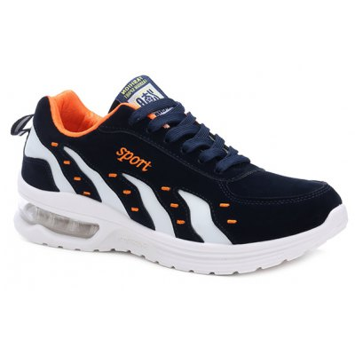 Stylish Color Splicing and Tie Up Design Athletic Shoes For Men