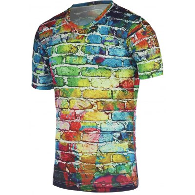Colorful Brick Wall Print Round Neck Short Sleeve Tee For Men
