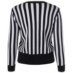 cheap Slimming Striped Zipper Front Knit Jacket
