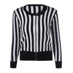 Buy Slimming Striped Zipper Front Knit Jacket WHITE AND BLACK