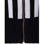 Slimming Striped Zipper Front Knit Jacket for sale