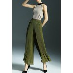 Simple Style Back Zip Wide Leg Pants for sale
