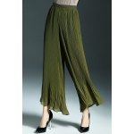 Simple Style Back Zip Wide Leg Pants