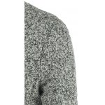 Stylish Stand Collar Long Sleeve Gray Melange Wool Blazer For Men photo