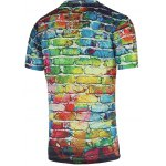Colorful Brick Wall Print Round Neck Short Sleeve Tee For Men deal