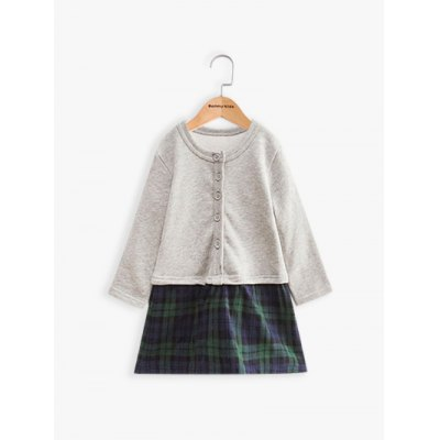 Long Sleeve Plaid Faux Twinset Wool Dress