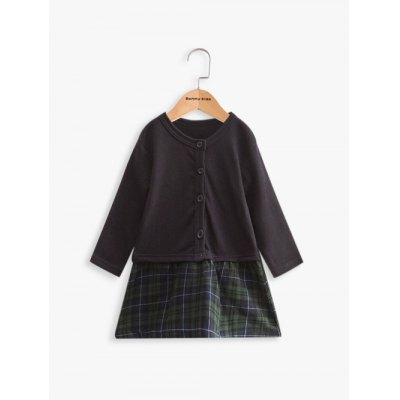 Long Sleeve Plaid Faux Twinset Wool Dress For Girl
