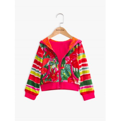 Long Sleeve Floral Print Hooded Jacket For Girl