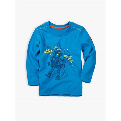 Long Sleeve Cartoon Robot Print T-Shirt
