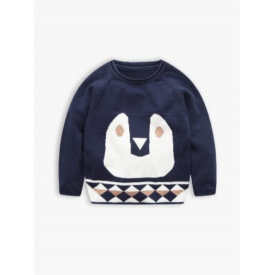 V Neck Long Sleeve Cartoon Jacquard Argyle Pullover Sweater For Boy