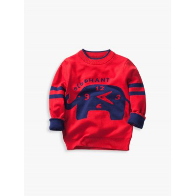 Long Sleeve Elephant Jacquard Pullover Sweater