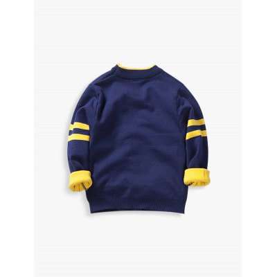 Long Sleeve Elephant Jacquard Pullover Sweater For Boy