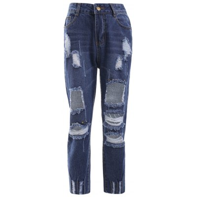 Trendy Bleach Wash Distressed Ripped Skinny Jeans