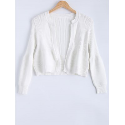 Puff Sleeve Ribbed Cardigan For Women