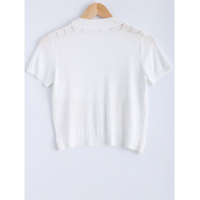 Simple Short Sleeve Ribbed Knitted Cardigan For Women