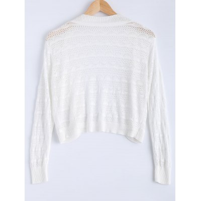 Simple Textured Hollow Out Knitted Cardigan For Women