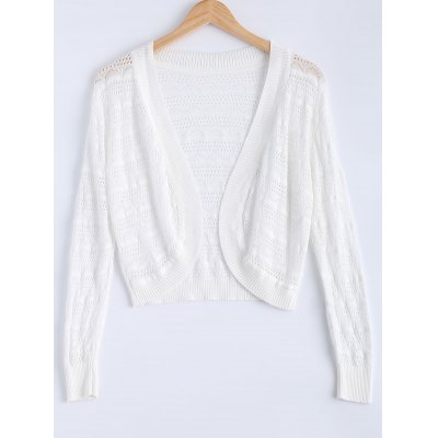 Textured Hollow Out Knitted Cardigan For Women