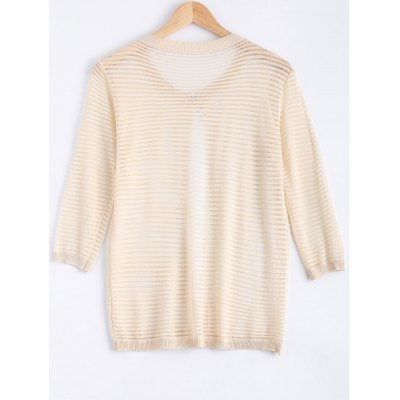 Gauzy Striped Textured Knitted Cardigan For Women