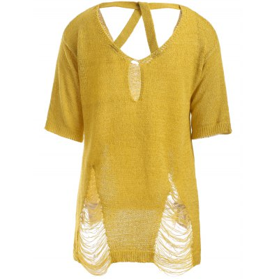 Fashion Back Cut Out Ripped Pure Color Thin Knitwear