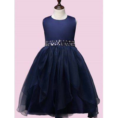 Tie Back Rhinestone Embellished Ball Gown Dress