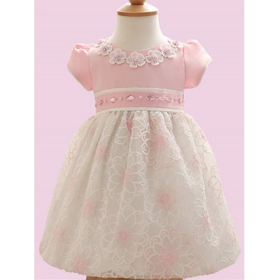Bow Embroidery Flower Faux Pearl Embellished Dress