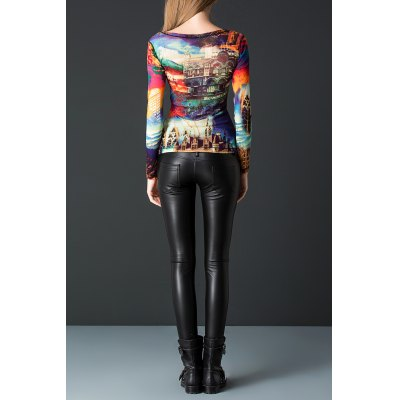 Colorful Print Pullover Tee