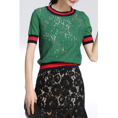 Short Sleeve Lace Front T-Shirt
