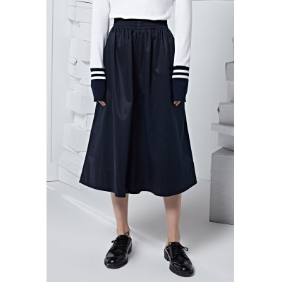 Pure Color Elastic Waist Wide Leg Pants