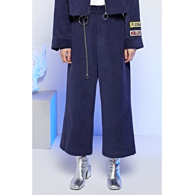 Chained Corduroy Straight Pants